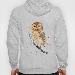 Watercolor Little Owl Portrait Hoody