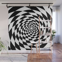 Optical Illusion Op Art Black and White Retro Style Wall Mural