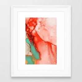 Fluid Coral & Turquoise Framed Art Print