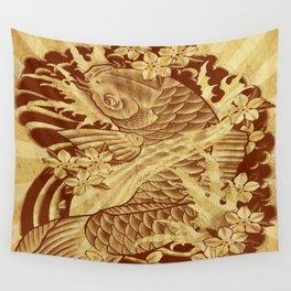 reto sun rays vintage japanese tattoo koi Wall Tapestry
