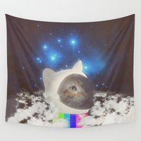 space cat Wall Tapestries featuring Space Cat by OMG Catz