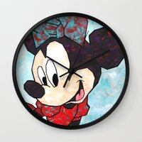 minnie mouse Wall Clocks featuring Minnie Mouse Fan Art by DanielleArt&Design
