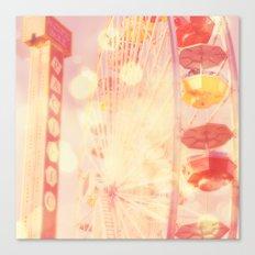 Carnival Lights. Santa Monica pier ferris wheel photograph Canvas Print