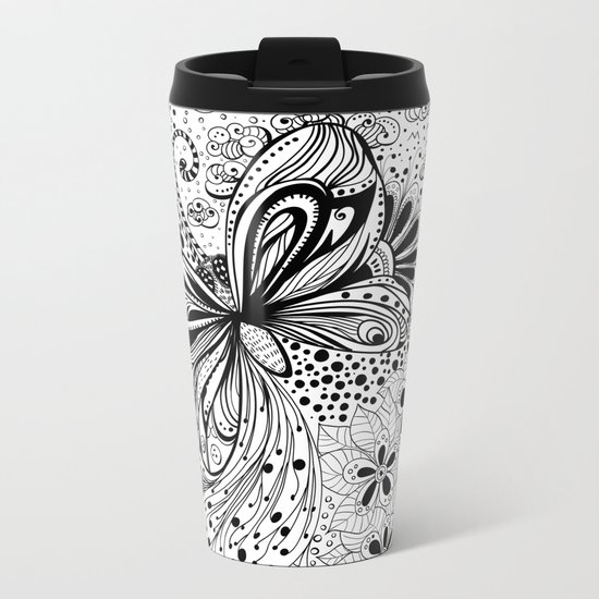 Butterfly and flowers, doodles Metal Travel Mug