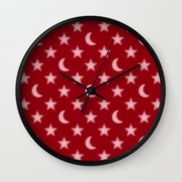 Red moons and stars pattern Wall Clock