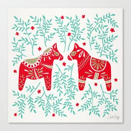 Swedish Dala Horses – Red & Mint Palette Canvas Print