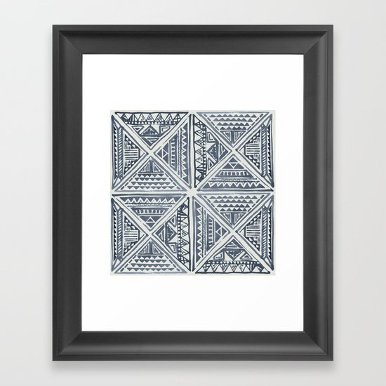 Simply Tribal Tile in Indigo Blue on Lunar Gray by followmeinstead