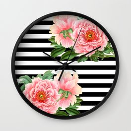 Pink Peonies Black Stripes Wall Clock