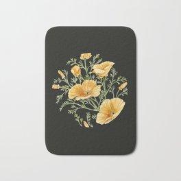 California Poppies on Charcoal Black Bath Mat