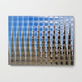 Blue and Brown Spikes Metal Print