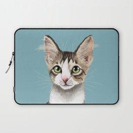 Cute Stripey Kitten in Blue Laptop Sleeve