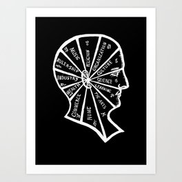 Vintage Black and White Phrenology Illustration Art Print