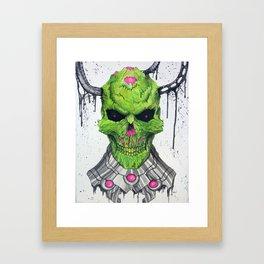Brainiac Skull Framed Art Print