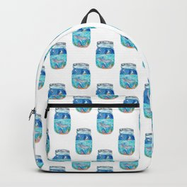 Humpback whale in maison jar watercolor Backpack