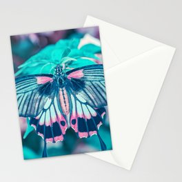 Teal and Peach Butterfly Stationery Cards