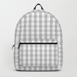 Christmas Silver Gingham Check Plaid Backpack