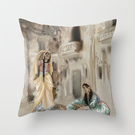 Odalisque watercolor harem ladies illustration Throw Pillow