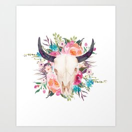 Watercolor bull skull with flower garland Art Print