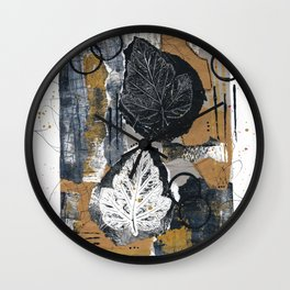 White And Black Leaves Collage Wall Clock