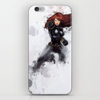 black widow iPhone & iPod Skins featuring Black Widow by Isaak_Rodriguez