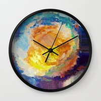 watercolour Wall Clocks featuring WaterColour by MonsterBrown