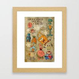 Sailor Jerry Spongebob Tattoo Sheet Framed Art Print