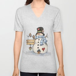 Folk Art Snowman Christmas Unisex V-Neck