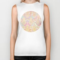 deco Biker Tanks featuring Rosy Opalescent Art Deco Pattern by micklyn