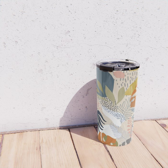 Tropical Foliage Pattern 1 - Retro Boho Travel Mug