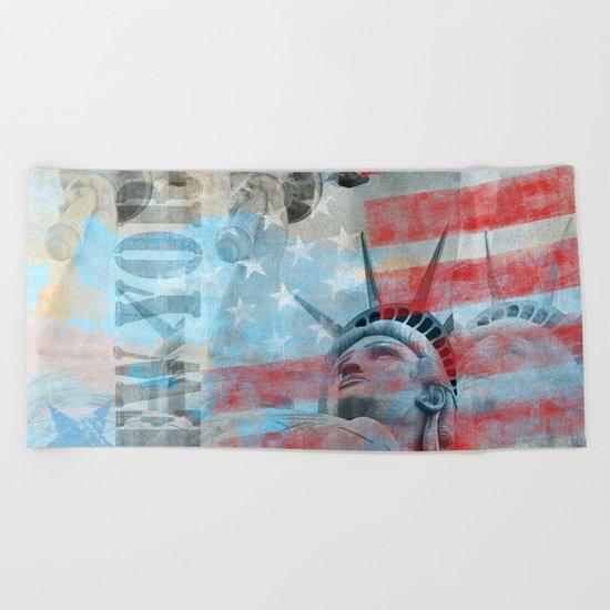 Lady Liberty Stars and Stripes Patriotic Artwork Beach Towel