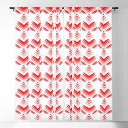 Pastel pattern of red hearts and flowers on a white background. Blackout Curtain