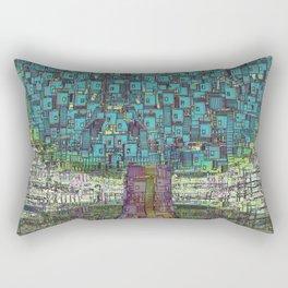 Tree Town - Magical Retro Futuristic Landscape Rectangular Pillow