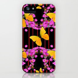 Modern Pink Flowers Yellow Butterflies Black Color Garden Art iPhone Case