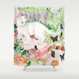 White Cat in a Garden Shower Curtain