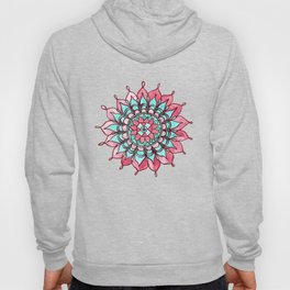 Pink and Turquoise Mandala Watercolor Painting Hoody