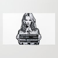 kate moss Area & Throw Rugs featuring Kate Moss by Merlin Dobaryan