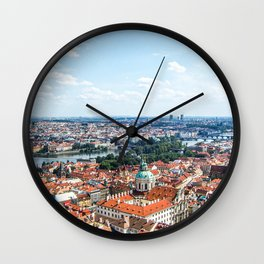 Prague Cityscape | Red Rooftop Old World Bridge Majestic European City Landscape Photograph Wall Clock