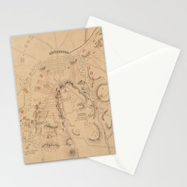 Vintage Map of The Battle of Gettysburg (1864) Stationery Cards