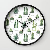shower Wall Clocks featuring watercolour cacti and succulent by Vicky Webb