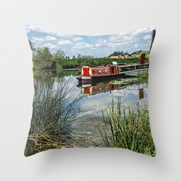 Moored on the Avon At Tewkesbury Throw Pillow
