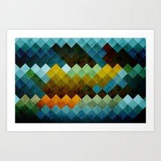 Abstract Cubes BYG Art Print