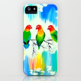 Lovebirds on a branch iPhone Case