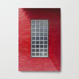 Glass Window on a Red Wall Metal Print