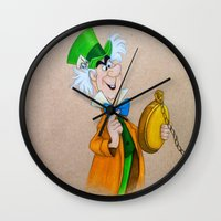 mad hatter Wall Clocks featuring Mad Hatter by Sierra Christy Art