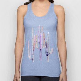 Minimalist Cactus Drawing Watercolor Painting Purple Unisex Tank Top