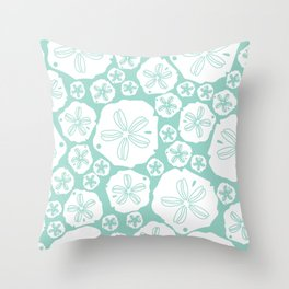 Teal and white sand dollars on the sea shore Throw Pillow