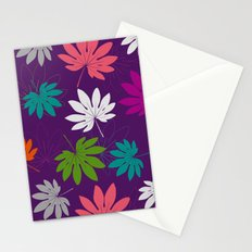 Purple tropical leaves Stationery Cards
