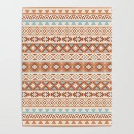 Aztec Stylized Pattern Blue Cream Terracottas Poster