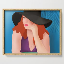 Red Haired Woman In A Black Hat Serving Tray