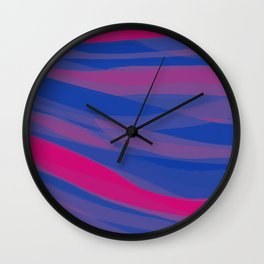 Bisexual Pride Gentle Layered Paintstrokes Wall Clock